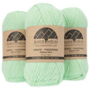 Alpaca Blend Umayo Fingering #2 - Set of Three Small Skeins - Fresh Mint